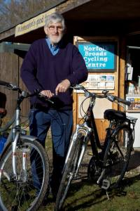 peter with bikes in front of hire centre